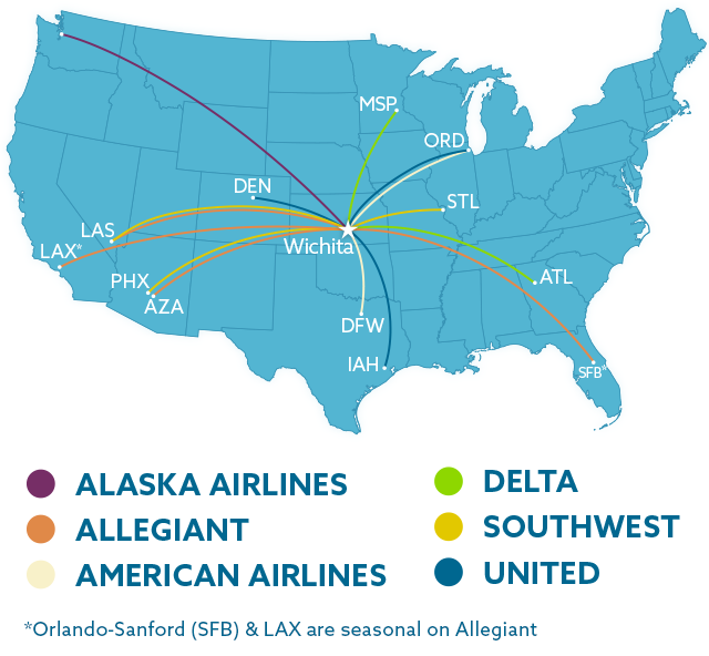 map of nonstop destinations from ict map of nonstop destinations from ict