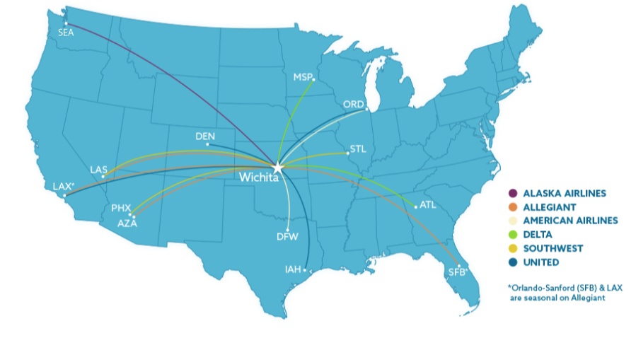 Map of nonstop destinations from ICT