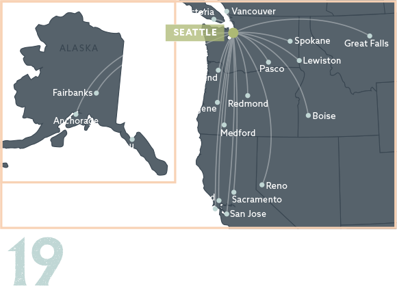Map of Southwest connections in Las Vegas