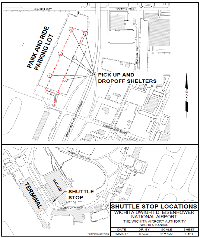 Shuttle Stop Locations at Eisenhower National Airport