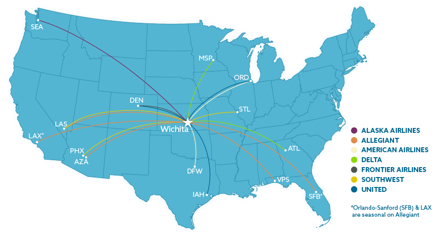 Wichita Airport Airline Information - Us-airline-hubs-map