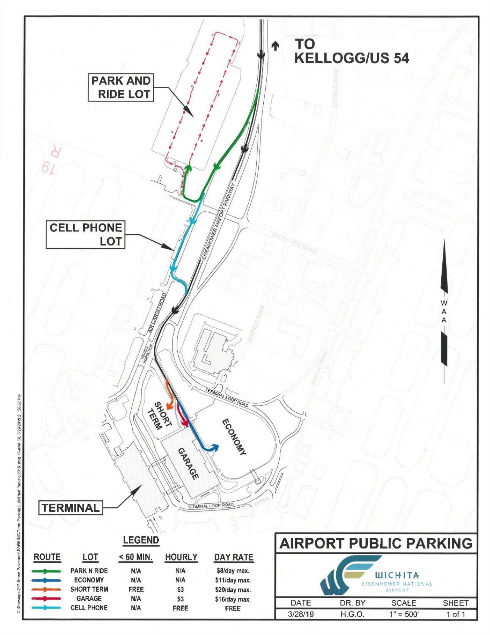 Parking map of Eisenhower Airport