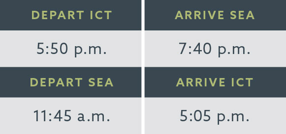 Alaska Air flight times ICT to SEA