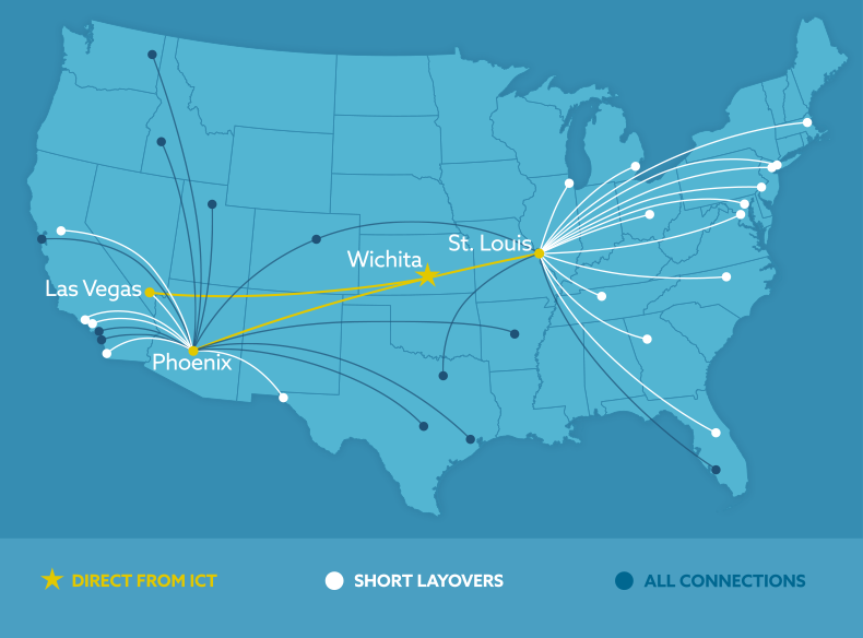 Map of Southwest connections